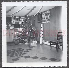 Vintage Photo Bicycle Bike Checker Floor & Christmas Tree Home Interior 673203
