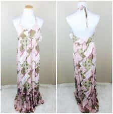 NWT Akiko Women's Floral Patch Maxi Halter Dress S/M Boho Empire Festival $129