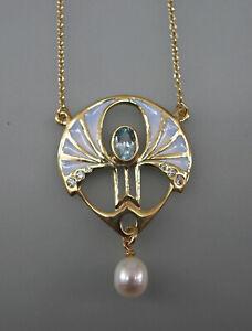 9906028 925er Silber vergoldet Jugendstil-Collier mit Blautopas emailliert Perle