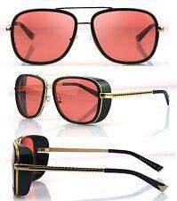 Mens Square Tony Stark Iron Men Sunglasses Retro Transparent Lens