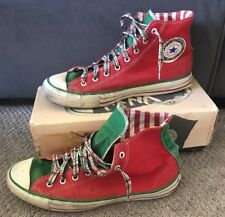 Vintage Mens Chuck Taylor All Star Converse High Top Christmas Shoes Sz 10 Red