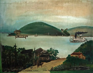 c1850 Ohio River Riverboat Scene by S. L. Kendrick