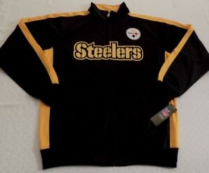 Pittsburgh Steelers Full Zip Jacket Medium Tall Embroidered Logos Majestic NFL