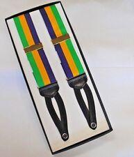"Mardi Gras 1.5"" Tri-Striped Grosgrain Ribbon Braided End Braces w/ Gold Hardware"