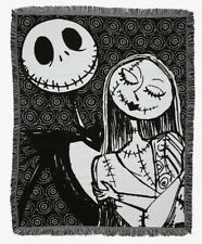 The Nightmare Before Christmas Black & White Jack & Sally Tapestry Throw Blanket