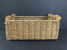 "11"" X 4 1/2"" Wicker Woven Craft Storage Basket Organizer With Wooden Handles"