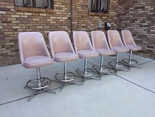 6 pink blush & chrome MID CENTURY modern swivel bar stools vtg counter chairs