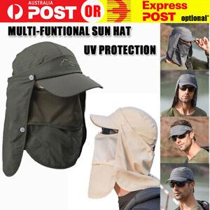 Mens Neck Flap Hat Wide Brim Cap Face Unisex Hiking Fishing UV Sun Protection AU
