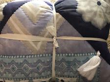 Pottery Barn Teen Kiara Floral Quilt - Boho Chic - White Tassels Full/Queen F/Q