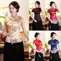 Women Printed Short Sleeve Traditional Cheongsam Blouse Shirt Vintage Party Tops