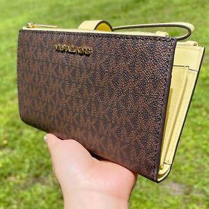 Michael Kors Jet Set Travel Double Zip Phone Wristlet Brown MK Buttercup Yellow