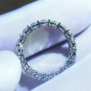 Certified Round Cut VVS1 Moissanite Full Eternity Band Ring 14K White Gold Over