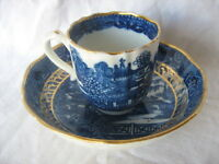 18th Century English gilt blue and white transfer decorated cup and saucer