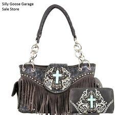 Montana West Handbag and Wallet SET spiritual Western Fringe Bag Purse Grey
