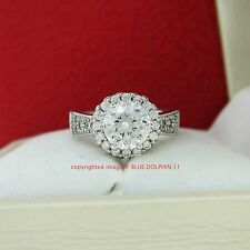 Genuine Solid 9ct White Gold Engagement Wedding Cluster Rings Simulated Diamonds