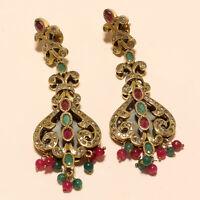 Victorian Emerald Ruby Chandelier Earrings 925 Sterling Silver Wedding Jewelry