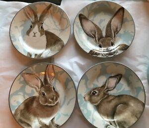 Boxed Williams Sonoma Set 4 Damask Bunny Salad Plates Blue Floral Easter Rabbit