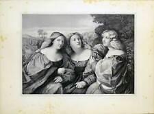 Die Töchter des Palma Vecchio-Große Lithographie -il Vecchio-Hanfstaengl 1835-52