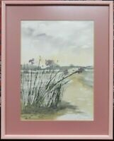 Impressionist style Landscape Watercolour Paintings signed C A FOULKES, framed