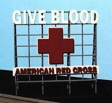 Blair Line N Scale Red Cross Give Blood Billboard Laser Cut Wood Sign 1519