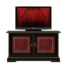 TV-Rack 2 Türen Schwarz mit Rotleder