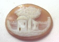 NOS Antique Vintage Hand Carved Oval Shell CAMEO Stone House & Tree Scene #N411