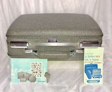 VTG American Tourister Small Hardside Gray Tweed Suitcase +Key/Brochures 16x13x6