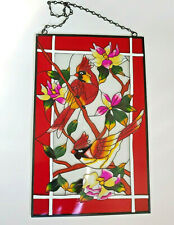Red Stained Glass Cardinals & Flowers Rectangle Sun Catcher w/ Hanging Chain