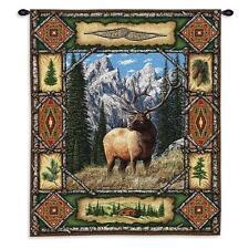 26x34 Elk Buck Lodge Wildlife Tapestry Wall Hanging