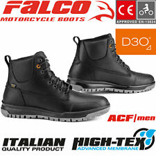 FALCO Motorradschuhe PATROL schwarz wasserdicht CE Leder Stiefel Protektoren 43