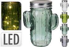 Deko Glas mit Deckel in Kaktusform mit 5 Leds, 15 x 11 x 7 cm