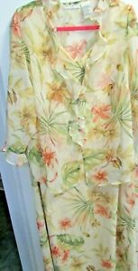 Womens 20W 3/4 Sleeve Yellow Floral 2 Pc Dress Blouse Overlay Sheer White Stag