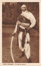 ITALIAN EAST AFRICA, SOLDIER IN UNIFORM WITH SCIMITAR SWORD POSED IMAGE c 1920's