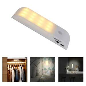 12 LED Motion Sensor Lights PIR Wireless Night Light USB Cabinet Stair Lamp