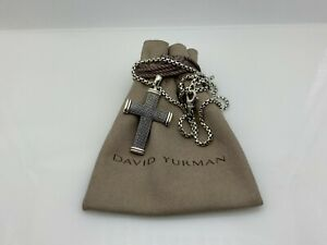 """David Yurman Large Sky Cross 925 Silver Pendant Necklace with 22"""" Chain"""