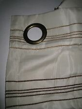 "Allen + Roth DECO Grommet Ivory Brown Stripe Drapery Curtain Panel NEW 56"" x 84"""