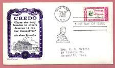 #1143 Lincoln Credo Issue  Ken Boll  Cachet typed addressed  ( Lot 576)