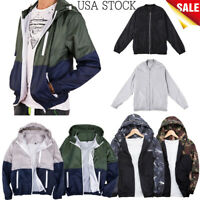 US Mens Solid Color Thin And Light Jacket Military Army Flight Bomber Jacket