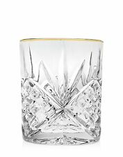SHANNON CRYSTAL Dublin 4 DOF DOUBLE OLD FASHION GLASSES  Gold Band NEW