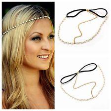 Metal Pearl Head Chain Forehead Headband Piece Bohemian Women Gypsy Accessories