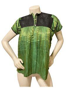 Mexican Mayan Blouse Green Satin San Juan Chamula Chiapas Woven Yoke + Pleats