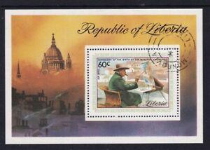 LIBERIA 17 JANUARY 1975 WINSTON CHURCHILL MINIATURE SHEET FINE USED