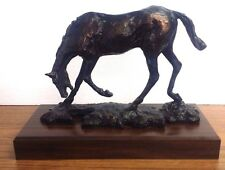 "VINTAGE BRONZE LOOKING HORSE ON WOOD 8"" H X 12"" W BASE NOT BRONZE"