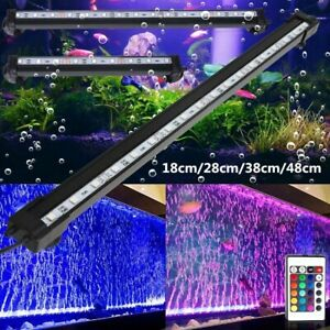 RGB Aquarium Fish Tank SMD Air Bubble Submersible LED Lights Bar Remote Control