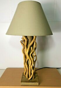 Drift Wood Table Lamp With Beige Shade - 62 cm