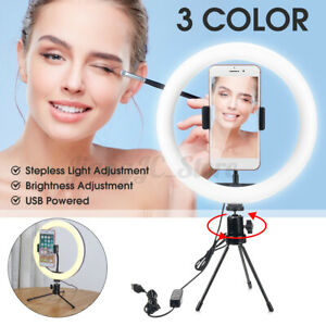 10'' LED Ring Light Dimmable Kit Phone Video Makeup Live for Youtube Selfie Set