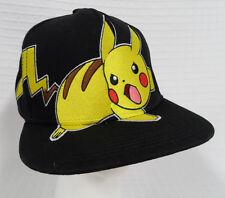 PIKACHU Nintendo POKEMON Snapback BASEBALL Cap HAT Black LICENSED Adult CLEAN