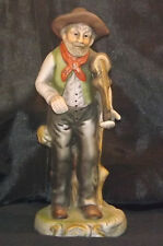 Porcelain Bisque Figurine 'Old Man With Fiddle Violin Sitting On Tree Stump'