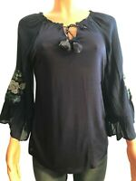 Womens VINTAGE AMERICA Medieval Blue Valerie Peasant Blouse Shirt X-Large