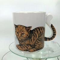 Vintage Neko Lucky Cat Mug Golden Kitty Adorable Tails Handle Japan Tea Cup C26